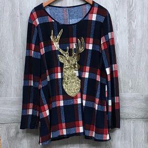 Plus Size Sequin Reindeer Long Sleeve Top Navy Red
